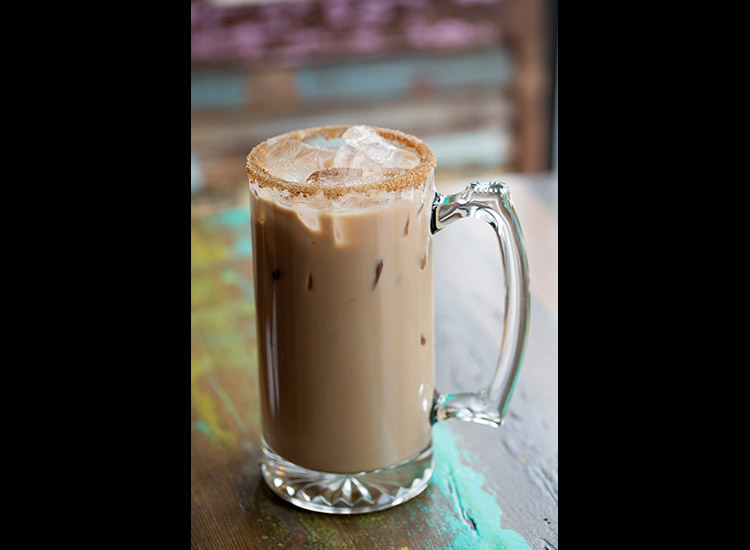 "The Painted Burro's popular ""Hair of the Dog"" drink is made of horchata iced coffee, RumChata and espresso liqueur. // © 2015 The Painted Burro"