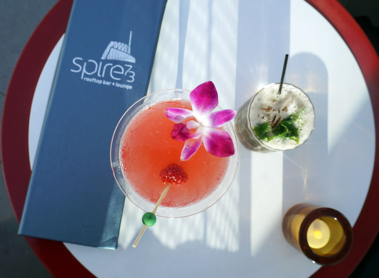 Among Spire 73's popular cocktails are The Name of the Rose and Julep 73 2017.  // © 2017 Valerie Chen