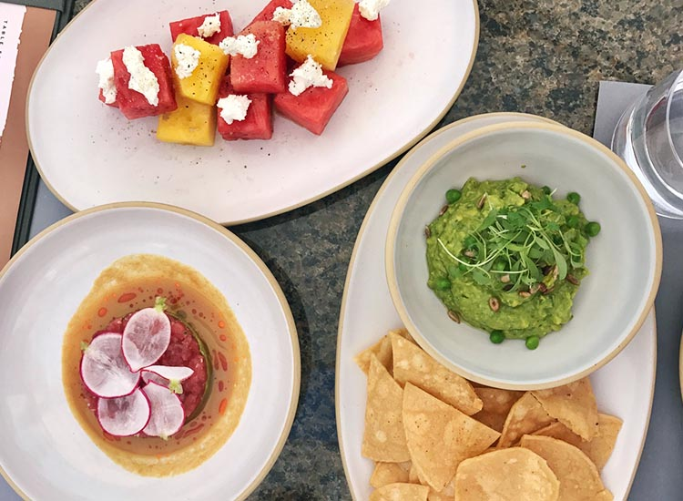 Dishes are fresh and satisfying, including popular items such as watermelon with goat cheese; spring pea guacamole; and tuna tartare. // © 2017 Valerie Chen