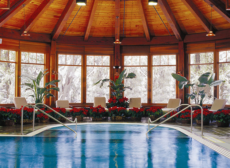 In addition to an outdoor heated mineral pool, Mohonk has a 60-foot-long indoor heated pool with underwater music.  // © 2016 Mohonk Mountain House/Jim Smith