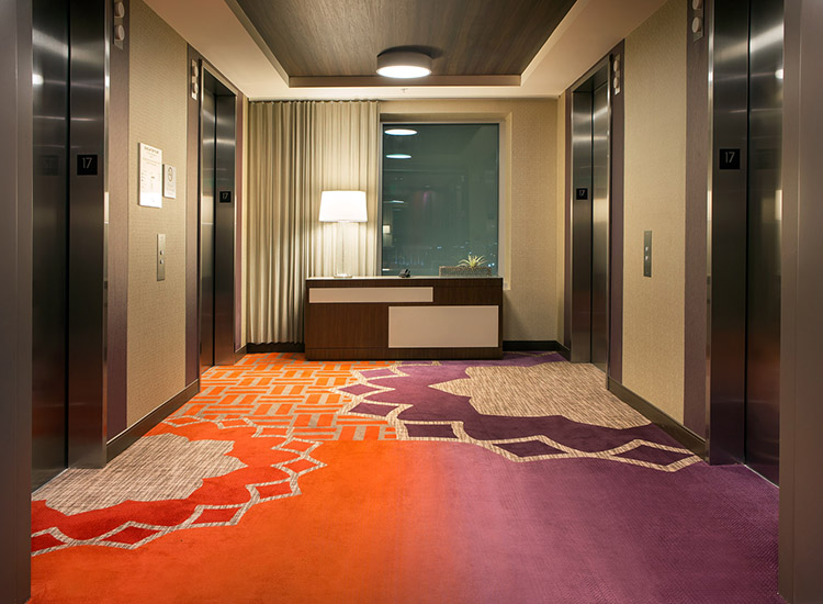 Courtyard and Residence Inn L.A. is one of the only dual-branded Marriott hotels with both room types on a single floor. // © 2014 Marriott