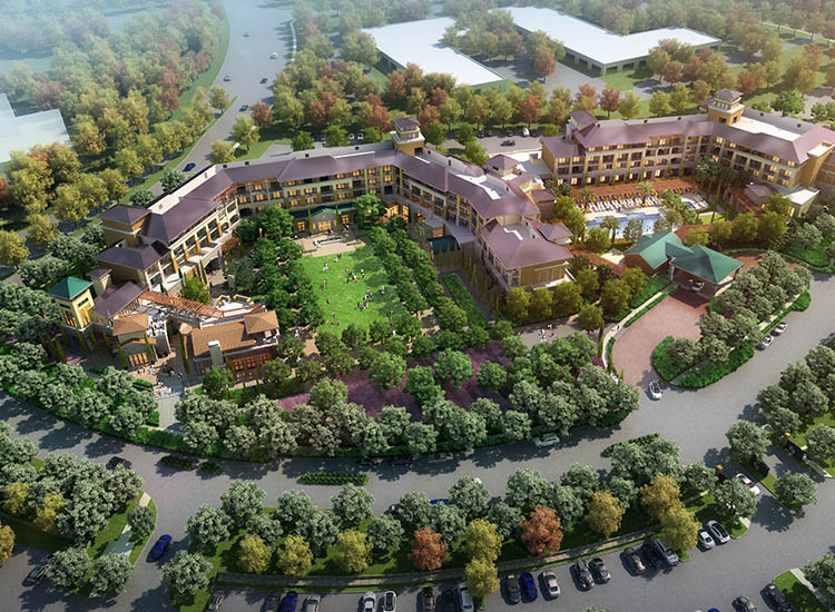 A rendering of Meritage's future expansion, which will include more guestrooms and suites; a culinary market; a lawn for concerts and events; and more // © 2017 The Meritage Resort and Spa