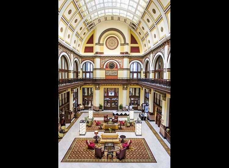 The lobby of the historic Union Station Hotel, converted from Nashville's main train station to a world-class property. // © 2015 Mark Edward Harris