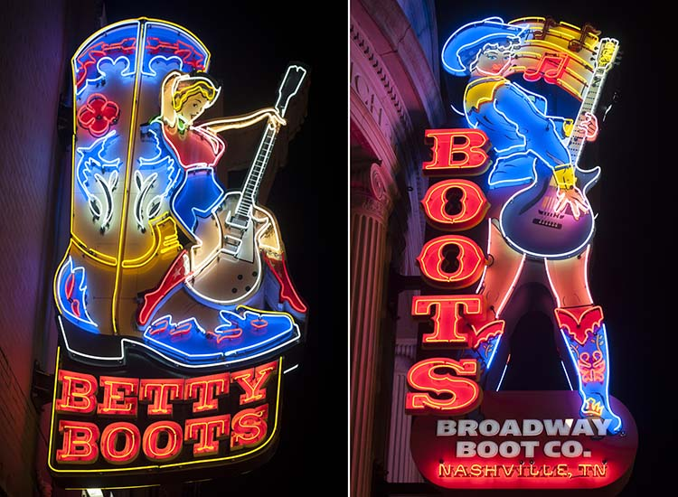 Neon lights on Broadway advertise cowboy boots. // © 2015 Mark Edward Harris