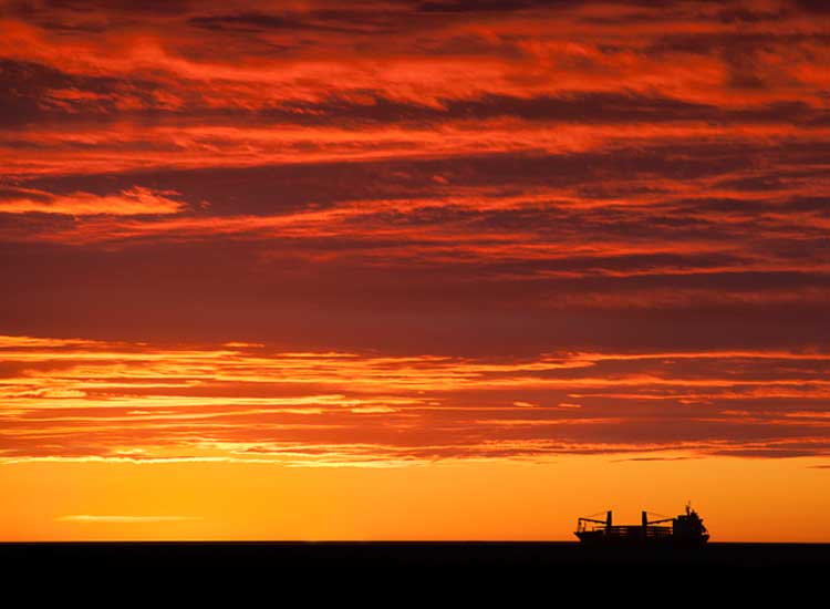 A freighter heads up the St. Lawrence River near Matane. // (c) 2013 Mark Edward Harris