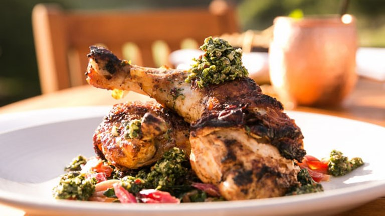 The Half Mary's Chicken dish features lentils, chimichurri and swiss chard. // © 2017 The Ranch at Laguna Beach