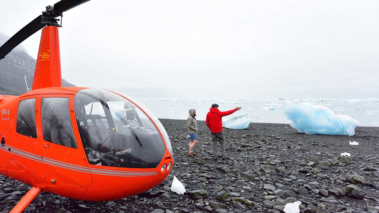 A helicopter tour out of Valdez is a popular way to view glacial moraines.