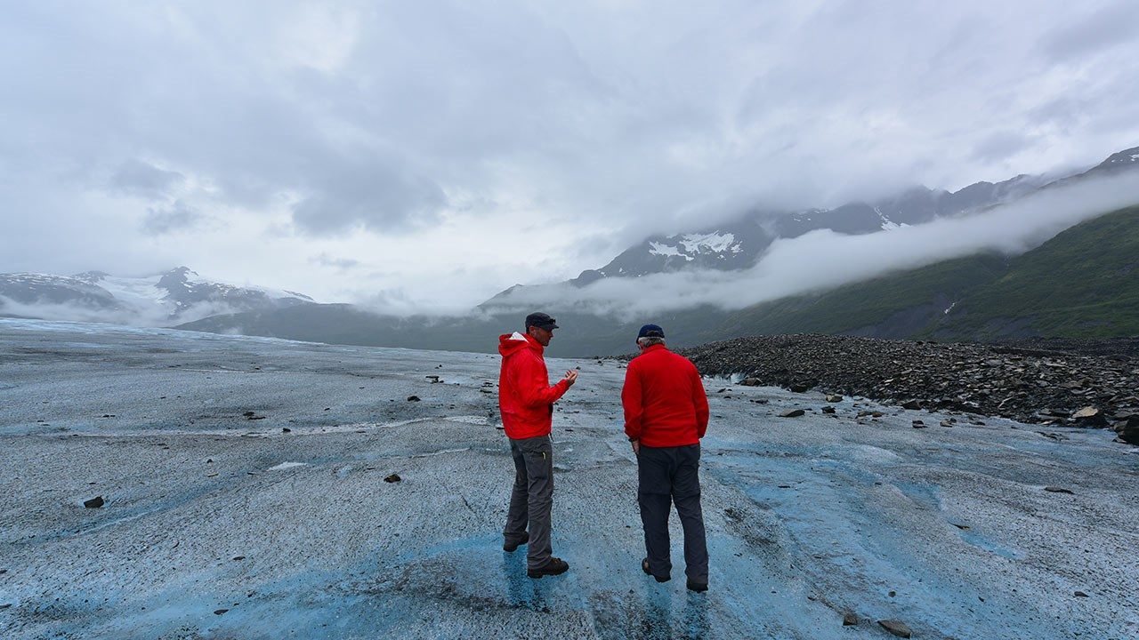 Guests can embark on a guided tour of a remote glacier in the Chugach Mountains after flying there on a day tour.