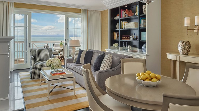 To fall asleep to the sounds of the ocean, splurge on a suite in front of Miramar Beach.