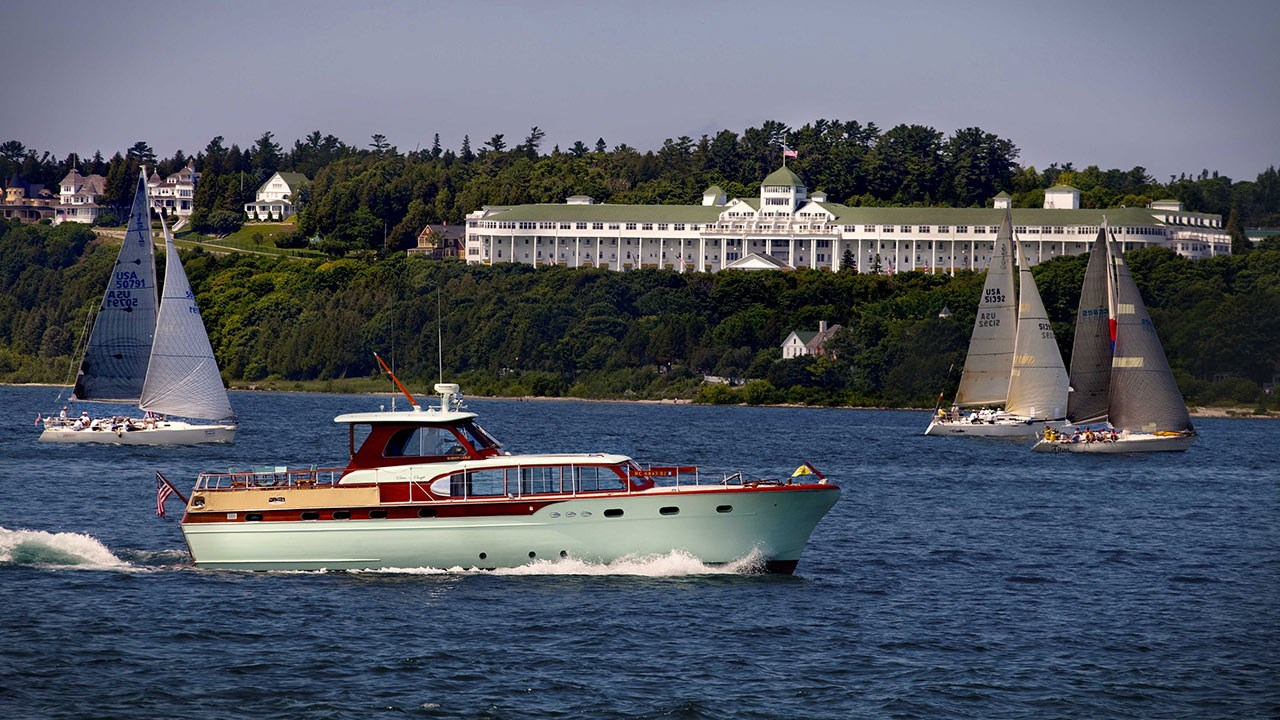Clients can stay at the Grand Hotel on Mackinac Island during a Great Lakes vacation.
