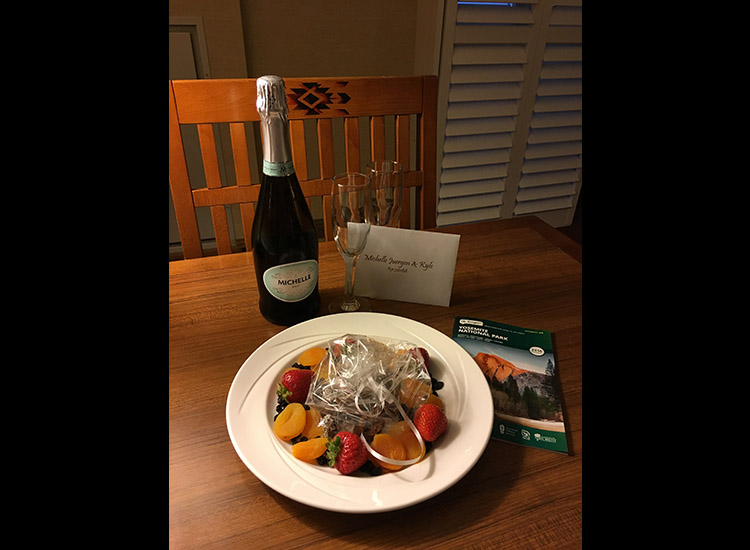 Couples can arrange a welcome champagne amenity to start their stay off right. // © 2016 Michelle Juergen