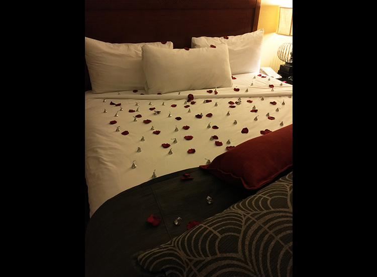 The concierge at Tenaya can set up a romantic turndown service for clients that includes rose petals and chocolate candies. // © 2016 Michelle Juergen