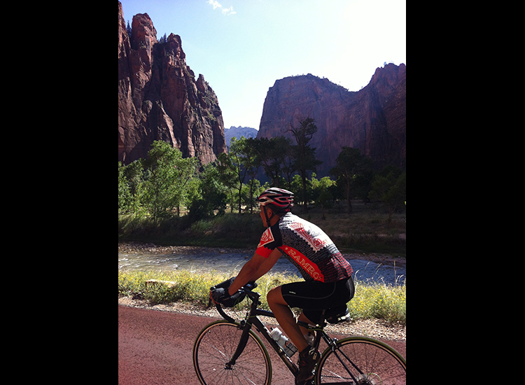 Biking along the Virgin River is peaceful and quiet, and cyclists may be able to spot wildlife as they ride. // © Bicycle Adventures