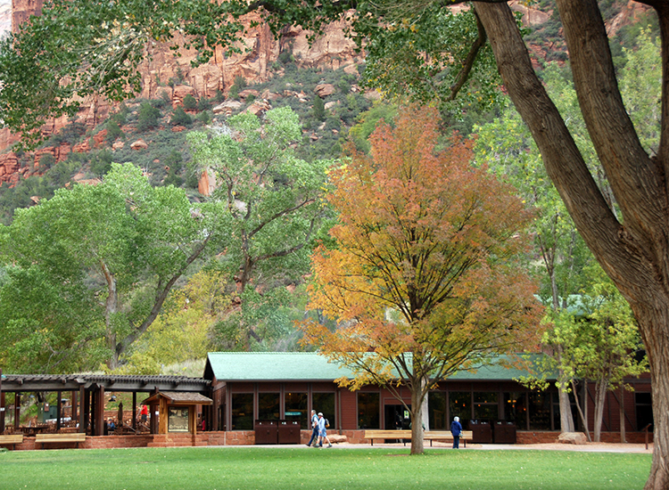 Zion Lodge is the only in-park lodging available. // © 2016 NPS Photo/Bryanna Plog