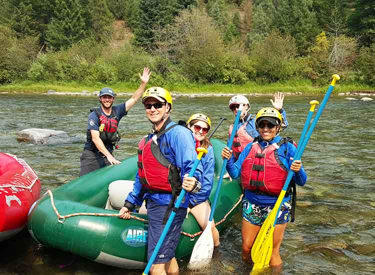 Montana Whitewater guide Ethan Greaves (left) led our group of happy rafters along the Gallatin. // © 2015 Troy Petenbrink