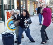 The Fur Rendezvous festival introduces a team snowball fight this year. // © 2011 Erik Hill / Anchorage Daily News