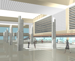 An architectural rendering of the future ticketing area at Tom Bradley International Terminal (TBIT) // (c) LAWA