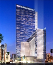 A rendering of the L.A. Live hotel complex at night // © AEG Worldwide/Marriott International 2010