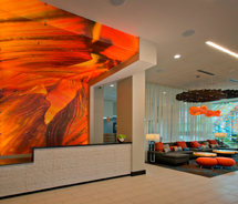 The lobby at the SpringHills Suites Denver Downtown at Metro State // © 2012 SpringHill Suites