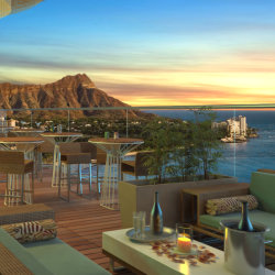 Hawaii's highest open-air lounge debuts spring 2014 // (c) 2013 Skybar Waikiki