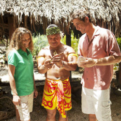 As part of the Polynesian Cultural Center's new Island Luau, Kap Teo Tafiti shares traditional Samoan food with guests. // (c) 2013 Polynesian...
