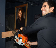Horror king Eli Roth chainsaws open Goretorium. // © 2012 Eli Roth's Goretorium