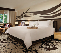 Guestrooms have a comfortable atmosphere with a touch of Vegas flair. // © 2013 Nobu Hotel Caesars Palace Las Vegas