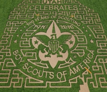 Cornbelly's 12-acre corn maze pays tribute to the Boy Scouts of America // © 2010 Cornbelly's Corn Maze and Pumpkin Fest