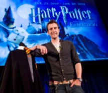 Harry Potter actor Matthew Lewis (Neville Longbottom) pictured with his costume from Harry Potter and the Sorcerer's Stone. // © 2010 Harry Potter:...