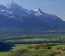 Amangani Resort with the Tetons in the background // © 2011 Aman Resorts