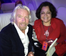 Sir Richard Branson and TravelAge West's Ana Figueroa on the inaugural Virgin flight to Palm Springs. // © 2011 Ana Figueroa