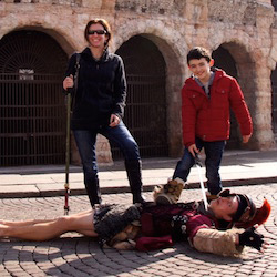 <p>Amie O'Shaughnessy and her son outside of Rome's Colosseum. // © 2015 Amie O'Shaughnessy</p><p>Feature image (above): When visiting Rome with a...