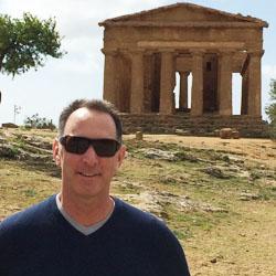 John Stewart Bowerman in front of the Temple of Concordia in Agrigento, Sicily // © 2014 John Stewart Bowerman
