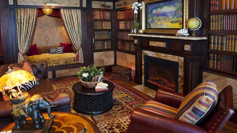 The Adventureland Suite features a master bedroom fashioned as a safari lodge.