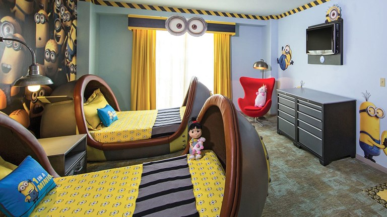 There's a secret Minions lair hidden inside the Kids' Suites at the Loews Portofino Bay Hotel.