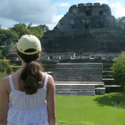 Abby takes in the ancient Maya wonder. // © 2014 Lisa McElroy