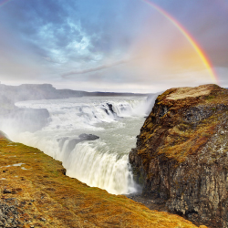 <p>Gullfoss waterfall is part of many Golden Circle tours. // © 2015 Thinkstock</p><p>Feature image (above): For a great view of the Northern Lights,...