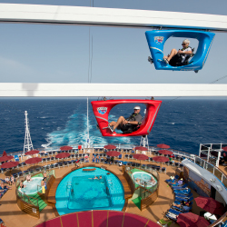 <p>Sky Ride features suspended recumbent-like bikes on an 800-foot track. // © 2016 Carnival Cruise Line</p><p>Feature image (above): The...