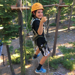 <p>Addy, age 10, conquers a ropes course. // © 2016 Melanie Gravdal</p><p>Feature image (above): The writer with her family on their first trip to...