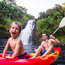 <p>A new Paradise Helicopters tour includes splashy fun on Hawaii Island. // © 2017 Paradise Helicopters</p><p>Feature image (above): Families get...