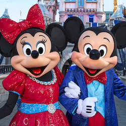 <p>In honor of the Disneyland Diamond Celebration, Mickey and Minnie Mouse will sport new and sparkly costumes as of May 22. // © 2015 Paul...