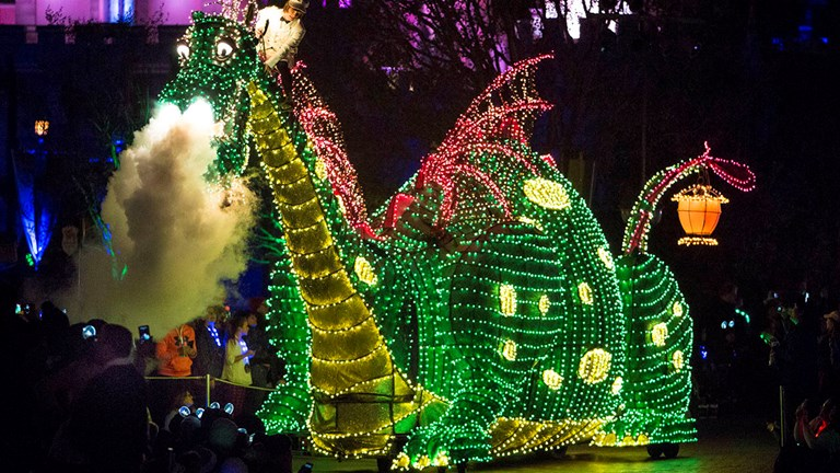Pete's Dragon is one of many characters in the nostalgic Main Street Electrical Parade.