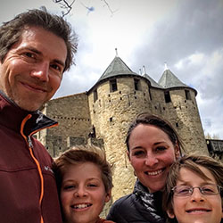 <p>Julia Slatcher and her family in Carcassonne, France // © 2016 Julia Slatcher</p><p>Feature image (above): Floating in the Aare River is a must...