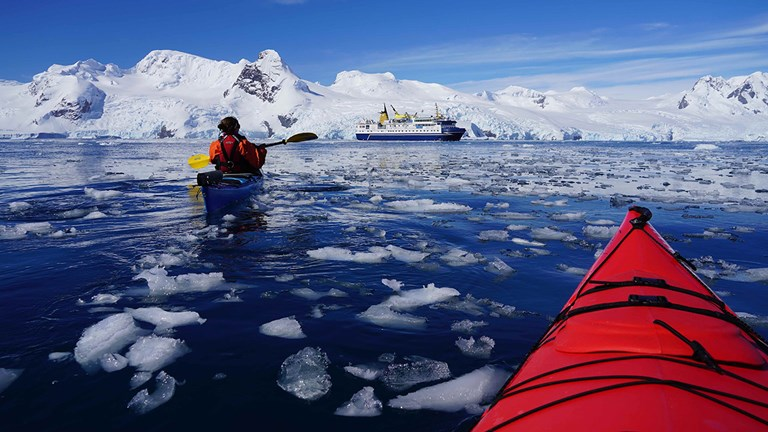 Ocean Nova's ice-strengthened hull is ideally suited for expedition travel in Antarctica.