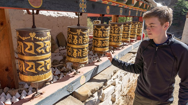 Spin prayer wheels at Tiger's Nest Monastery.