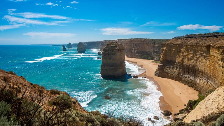 The 12 Apostles lie off the shore of Port Campbell National Park.