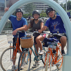 <p>The writer's children pause for a photo while cycling in Halifax, Nova Scotia. // © 2015 Greg Olsen</p><p>Feature image (above): A ride on the...