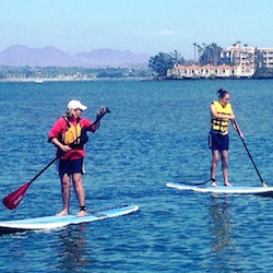 <p>Paddleboarders enjoy the Pacific Ocean. // © 2015 Loews Coronado Bay Resort</p><p>Feature image (above): The resort is set on 15 acres of seaside...