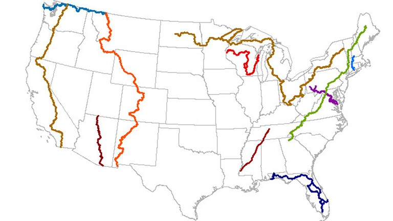 A map of the  11 National Scenic Parks in the U.S.