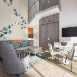 <p>Orange and teal accents will brighten up accommodations. // © 2016 Nickelodeon Hotels & Resorts Punta Cana</p><p>Feature image (above): Super...